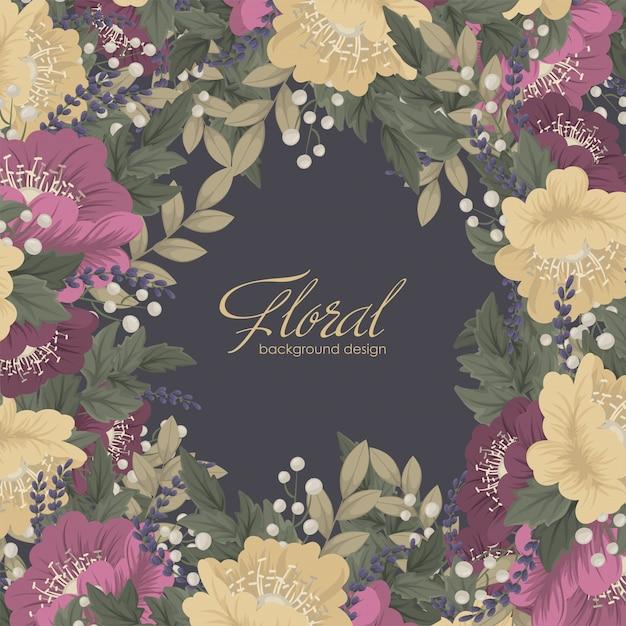 Bloemenlijst - donkere bloemenkaart Gratis Vector