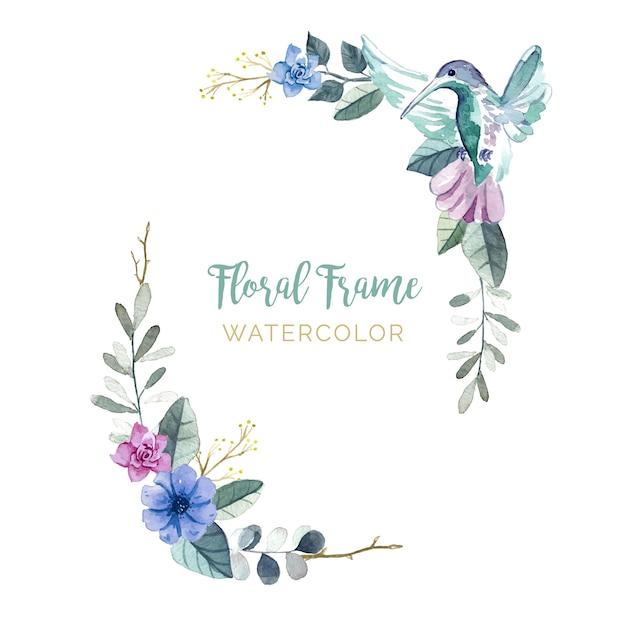 Bloemenlijst met vogels Gratis Vector