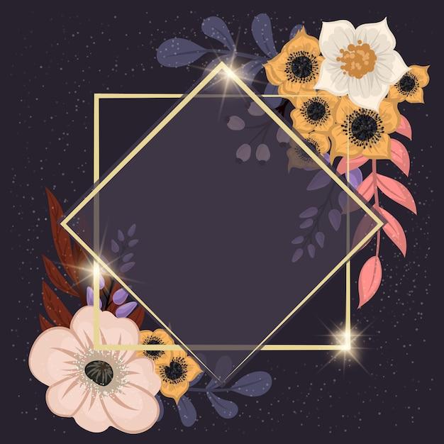 Bloemenlijst sjabloon. vector illustratie. Premium Vector