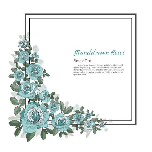 Bloemenlijst van rose. tekening en schets op witte achtergrond. Premium Vector