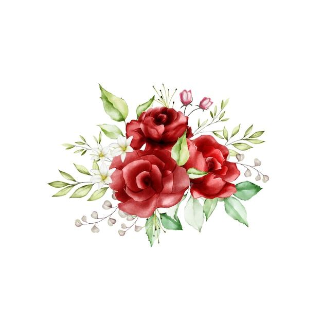 Bloemenontwerp boeket bruiloft kaartsjabloon Premium Vector