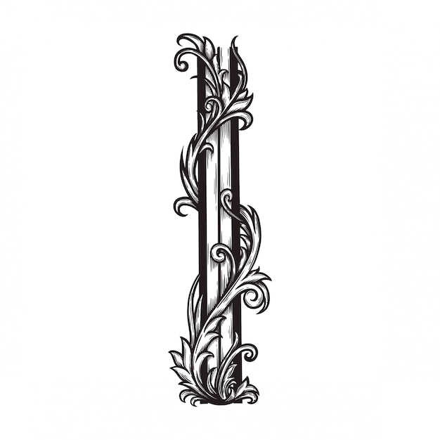 Bloemenornament barok voor grenskader en hoek. Premium Vector