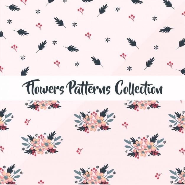 Bloemenpatronen collectie Gratis Vector
