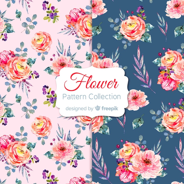 Bloemenpatroon collectie Gratis Vector