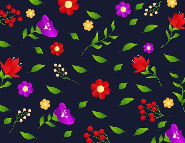 Bloemenpatroon met kleine bloemen en bladeren Premium Vector