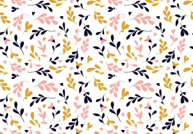 Bloemenpatroon. naadloze vectortextuur met bloemen voor manierdrukken of behang. Premium Vector
