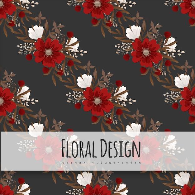Bloemenpatroonachtergrond - rode bloemen Gratis Vector