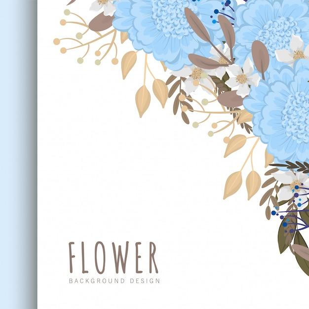 Bloemenrand sjabloon lichtblauwe bloemen Gratis Vector