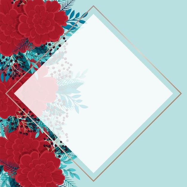 Bloemenrand sjabloon rood en mint bloemen achtergrond Gratis Vector