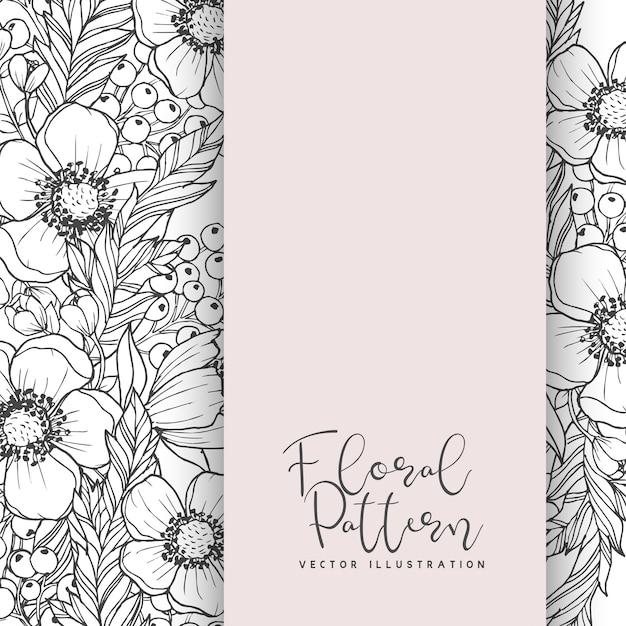 Bloemenrandtekening wit en zwart Gratis Vector