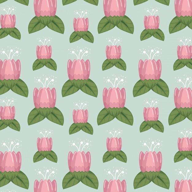 Bloemenstijl met natual bloemblaadjes en bladerenachtergrond Gratis Vector