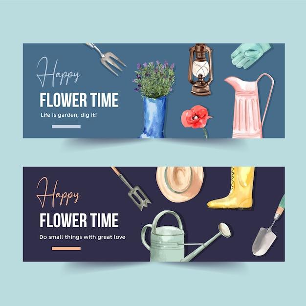 Bloementuin banner met tuingereedschap, laarzen, poppy aquarel illustratie. Gratis Vector