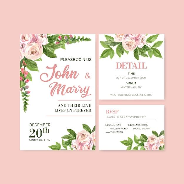 Bloementuin bruiloft kaart met klimmen rose aquarel illustratie. Gratis Vector