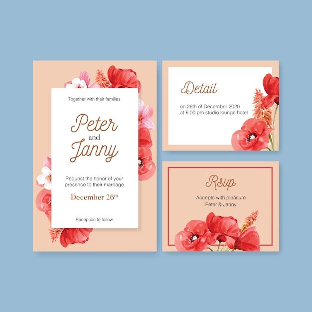 Bloementuin bruiloft kaart met papaver, magnolia, lupines aquarel illustratie. Gratis Vector
