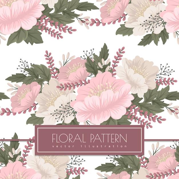 Bloemenvector - roze bloemen naadloos patroon Gratis Vector