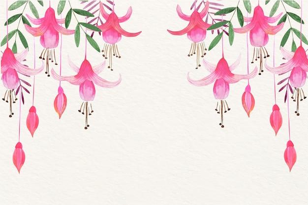 Bloemenwaterverfachtergrond met zachte kleuren Gratis Vector