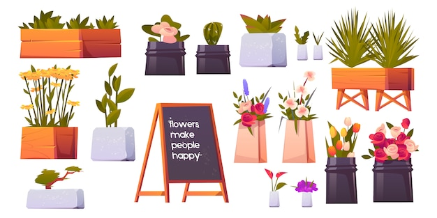 Bloemenwinkel set, potplanten en bonsai geïsoleerd Gratis Vector