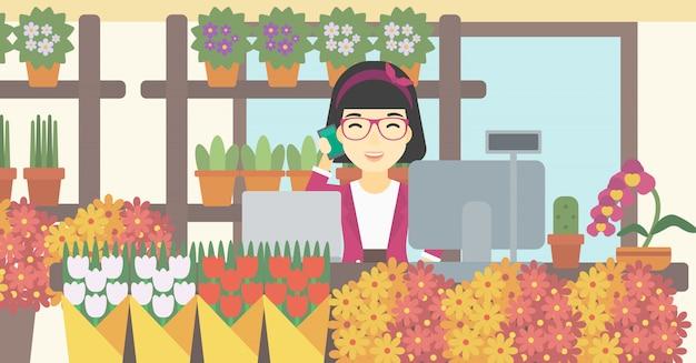 Bloemist bij bloemenwinkel vectorillustratie. Premium Vector