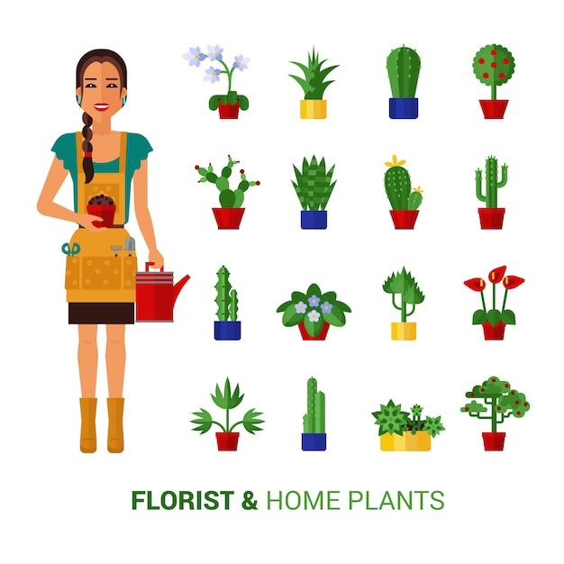 Bloemist en huis planten plat pictogrammen Gratis Vector