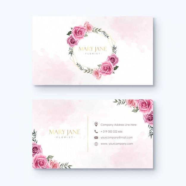 Bloemist visitekaartje sjabloon aquarel bloemen Premium Vector