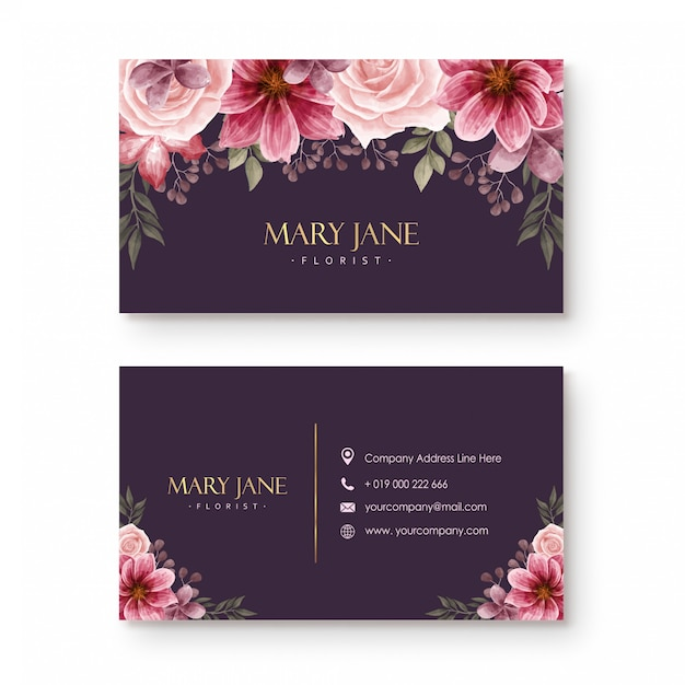 Bloemist visitekaartje sjabloon met mooie aquarel bloemen Premium Vector