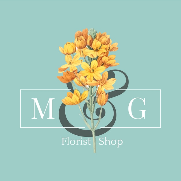 Bloemist winkel logo ontwerp vector Gratis Vector