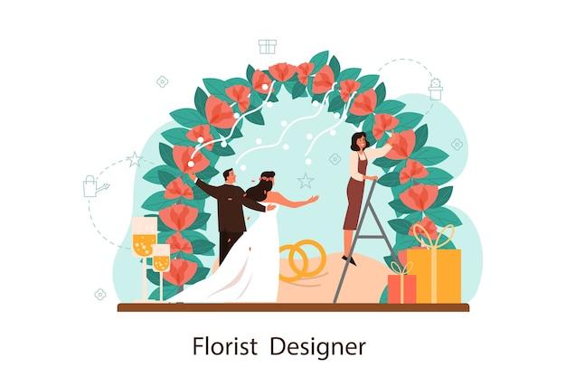 Bloemisten huwelijksboog met rozen versieren. ontwerper van bloemisten voor evenementen. creatieve bezetting, floristische zaken. geïsoleerde vectorillustratie in vlakke stijl Premium Vector