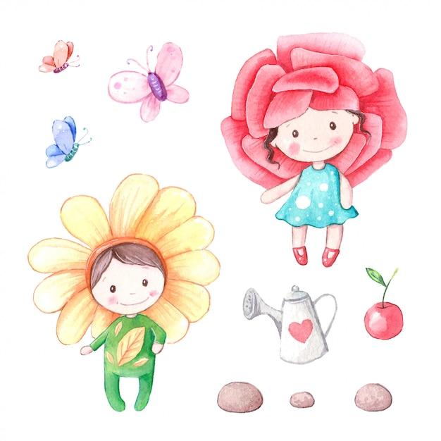 Bloemjongen en bloemmeisjeillustratie Premium Vector