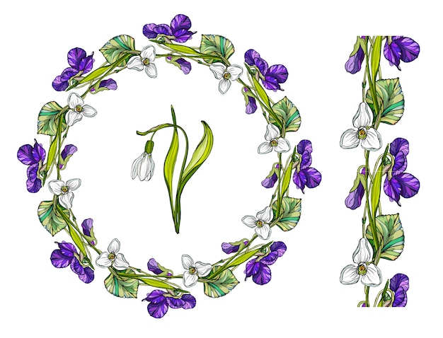Bloemkroon met lentebloemen. Premium Vector