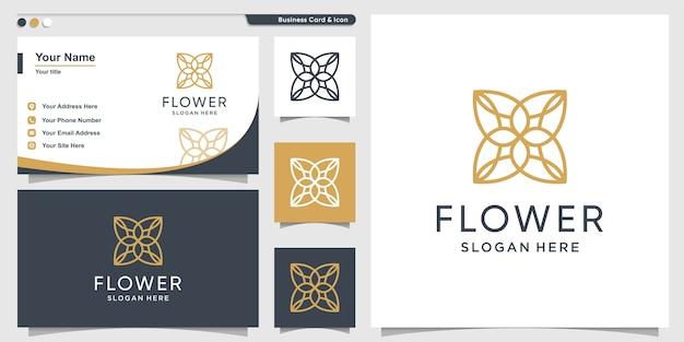 Bloemlogo met minimalistisch concept lijnstijl en ontwerpsjabloon voor visitekaartjes Premium Vector