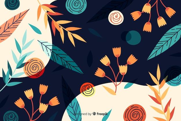 Bloemmotief abstracte achtergrond Gratis Vector