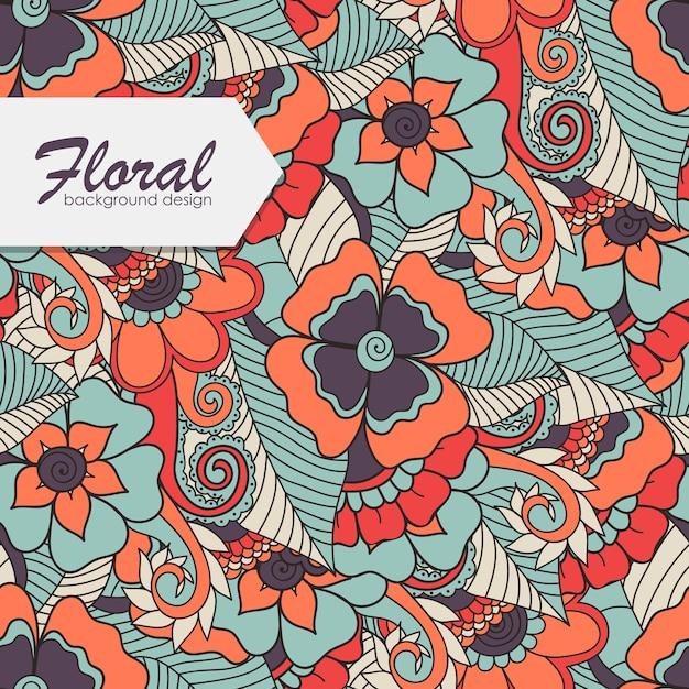 Bloemmotief met zentangle bloem. Gratis Vector