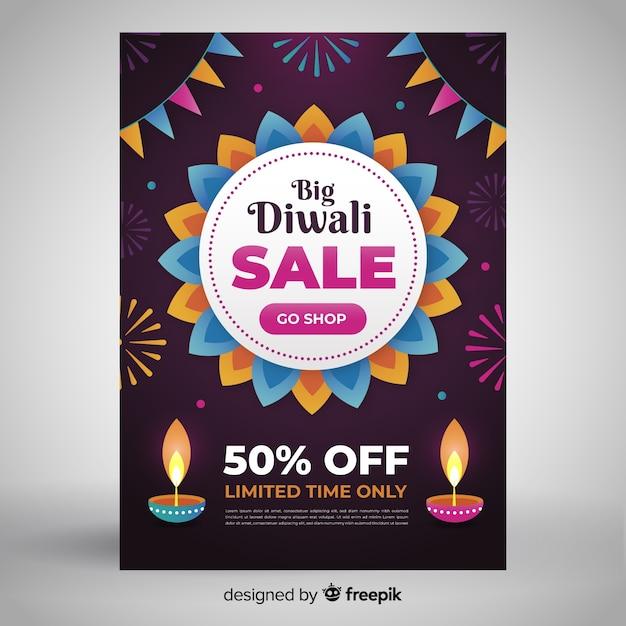 Bloemmotief van platte diwali verkoop folder sjabloon Gratis Vector