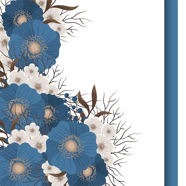 Bloemmotieven grens blauwe bloemen Gratis Vector