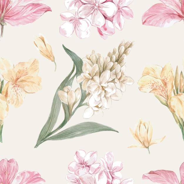 Bloemrijk patroon in aquarel stijl Gratis Vector