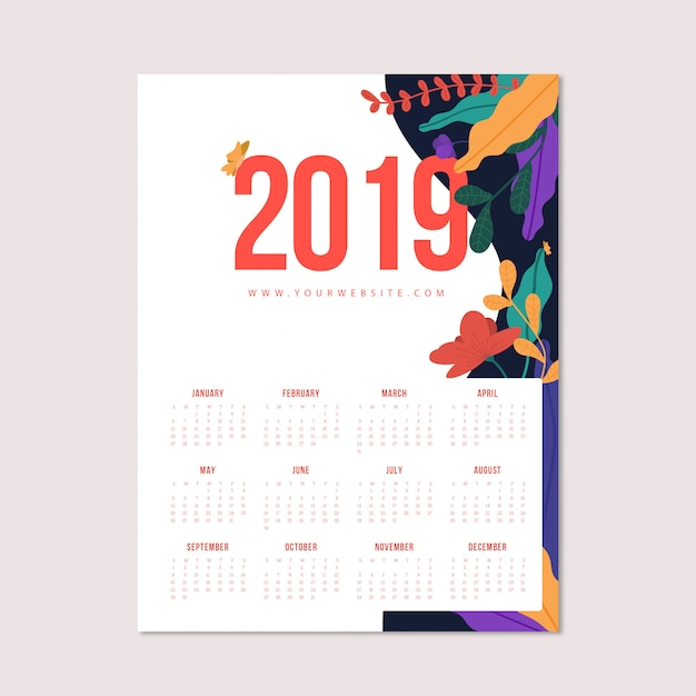 Bloemrijke kalender Gratis Vector
