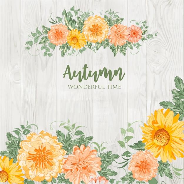 Bloesem herfst bloemen. Premium Vector