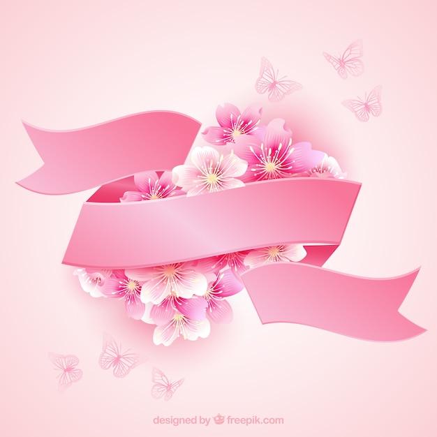 Bloesems van de kers met een roze lint Gratis Vector