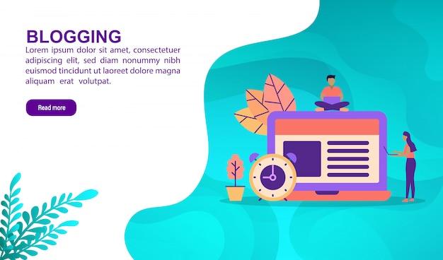 Bloggen illustratie concept met karakter. bestemmingspaginasjabloon Premium Vector