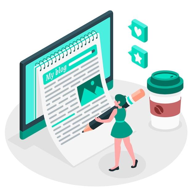 Bloggen illustratie concept Gratis Vector