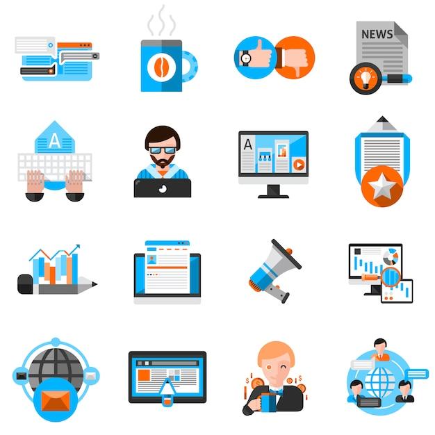 Bloggen pictogrammen instellen Gratis Vector