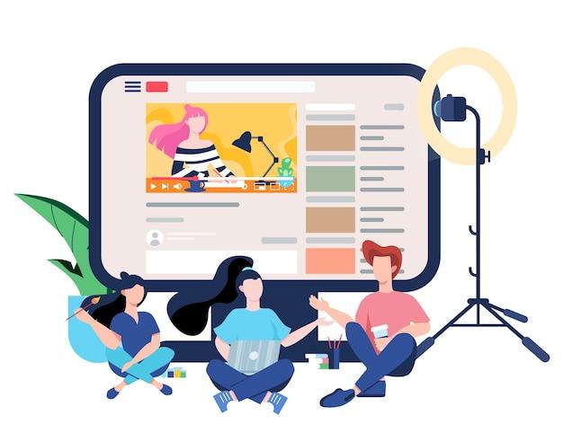 Blogger concept. bekijk inhoud op internet. idee van sociale media en netwerk. online communicatie. illustratie Premium Vector