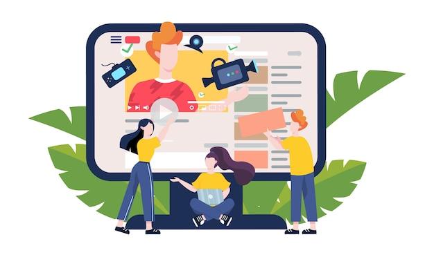 Blogger concept illustratie. bekijk inhoud op internet. idee van sociale media en netwerk. online communicatie. illustratie Premium Vector