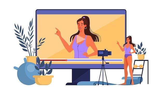 Blogger concept illustratie. fitness bloggen, trainen en online uitzenden. videokanaal, gezonde levensstijl. idee van sociale media en netwerk. illustratie Premium Vector