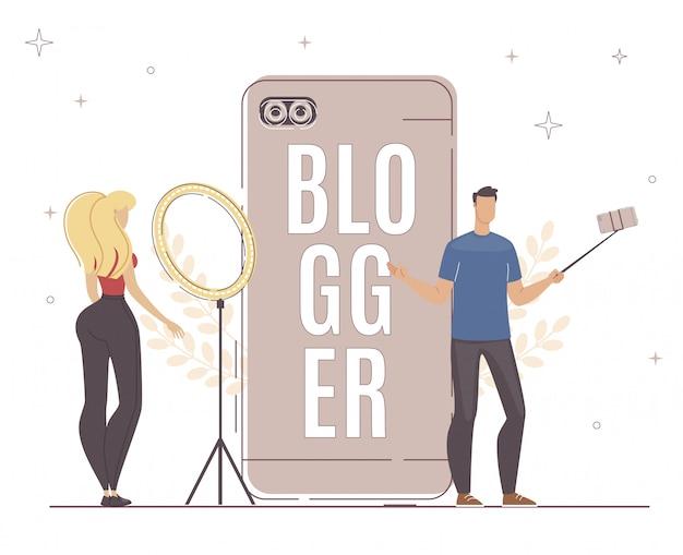 Blogger gebruik een ander apparaat smartphone, light. Premium Vector