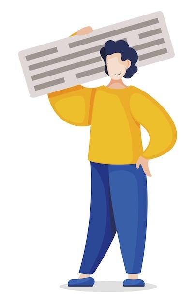 Blogger heeft bericht in blog geplaatst. man werkt met tekst. content management man holdings tekst, programmeur werker Premium Vector