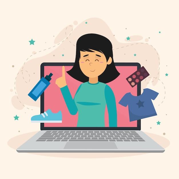 Blogger-recensie over kleding Gratis Vector