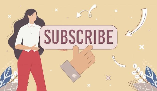Blogger-webpagina, kanaal abonneren op banner Premium Vector