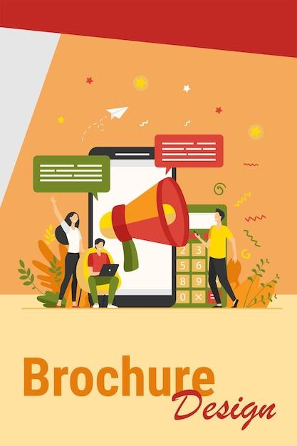 Bloggers adverteren verwijzingen. jongeren met gadgets en luidsprekers die nieuws aankondigen en doelgroep aantrekken. vectorillustratie voor marketing, promotie, communicatieconcept Gratis Vector