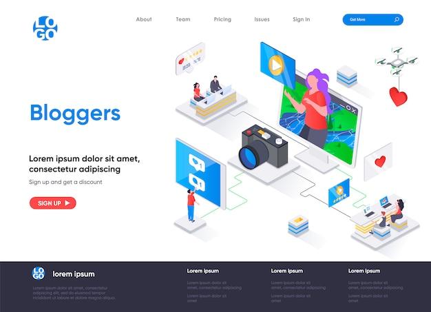 Bloggers isometrische bestemmingspagina-sjabloon Premium Vector